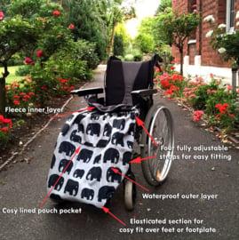 adult volwassen Voetenzak rolstoel beenwarmer schootmobiel beenzak Wheelchair Cosy Olifant adult volwassen
