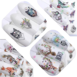 4 sheets Nail art stickers nailart nagel stickers vos feeën hert wolf hond fox