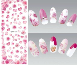 Nail art nagel Stickers roos Roze roosjes