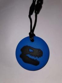 Dino rond Blauw bijtsteen kauw sieraden bijt ring bijt steen ketting voor moeder en kind kauwsieraden blauw Autisme ADHD