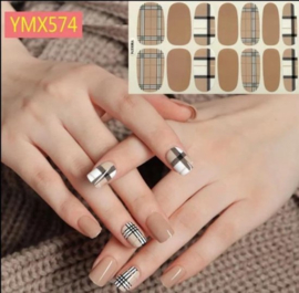 nagel stickers nail art burberry style ruit