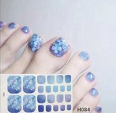 teen nagel stickers nailart blauwe klavertjes vier nail art sticker kalknagel verbergen teennagel