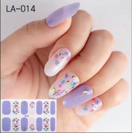 Nail art nagel stickers nagel stickers Paars rosé zomerse bloemen LA-014