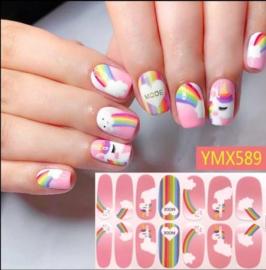 nail art sticker pony eenhoorn roze rainbow