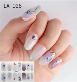 Nail art nagel stickers nagel stickers Paarse bloem met zilver LA-026