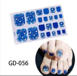 teen nagel stickers Nail art blauw maan met stèren nagelsticker teennagel kalk nagel verbergen