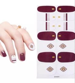 Nail art nagel sticker nagelsticker paars rosé ruit met goud