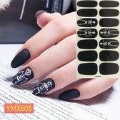 Halloween zwart skelet nagel stickers nail art