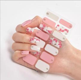 nail art nagelstickers rosé goud witte bloemen