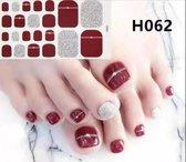 teen nagel stickers nailart rood met stip zilver nail art sticker kalknagel verbergen teennagel