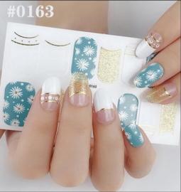 Nail art nagel stickers nagel stickers Daisy met goud en wit 0163