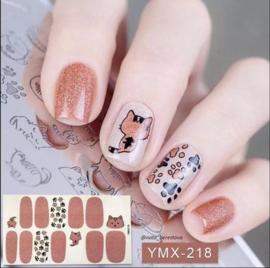Nail art nagel stickers nagel stickers katten pootjes kitten rose wit ymx218