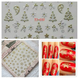 11x sheets Nail art Stickers KERST 3D Goud & Zilver Metalic