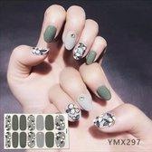Nail art sticker groen met bloem nailart nagelstickers