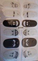 Bibbi4you Nail art stickers nagelstickers glitter emoticons