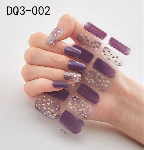Nail art stickers nagel sticker donker paars met gouden vlokken