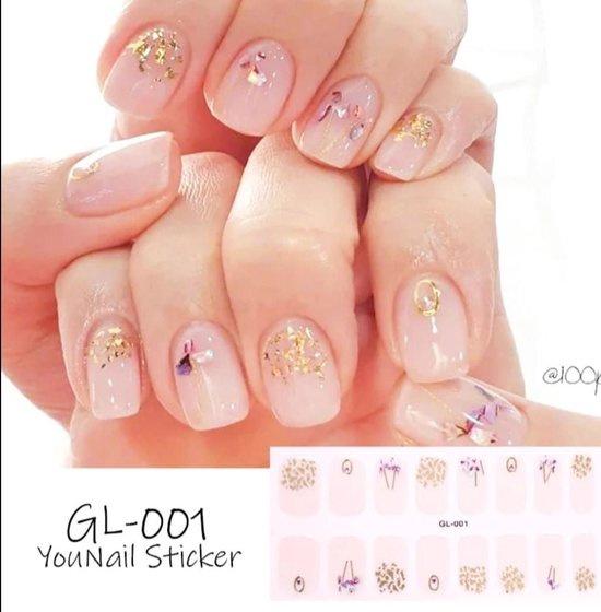 nagel sticker nail art bloem goud met vlokken