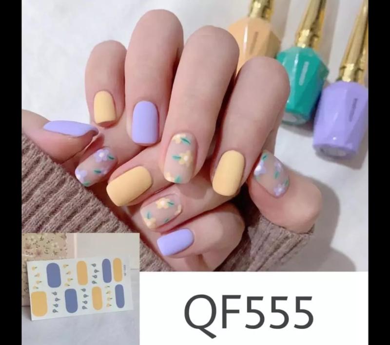 Nail art stickers nagel sticker nagelsticker summer time geel paars bloemen