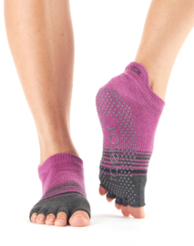 ToeSox HalfToe Low Rise, Mulberry Stripe