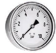 "0-1 Bar Manometer stalen kast 63mm - Droog ¼"" Achteraansluiting ("