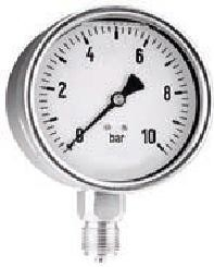 """0-1 Bar Manometer RVS kast 63mm - Glycerine gevuld ¼"""" Onderaansluiting ("""