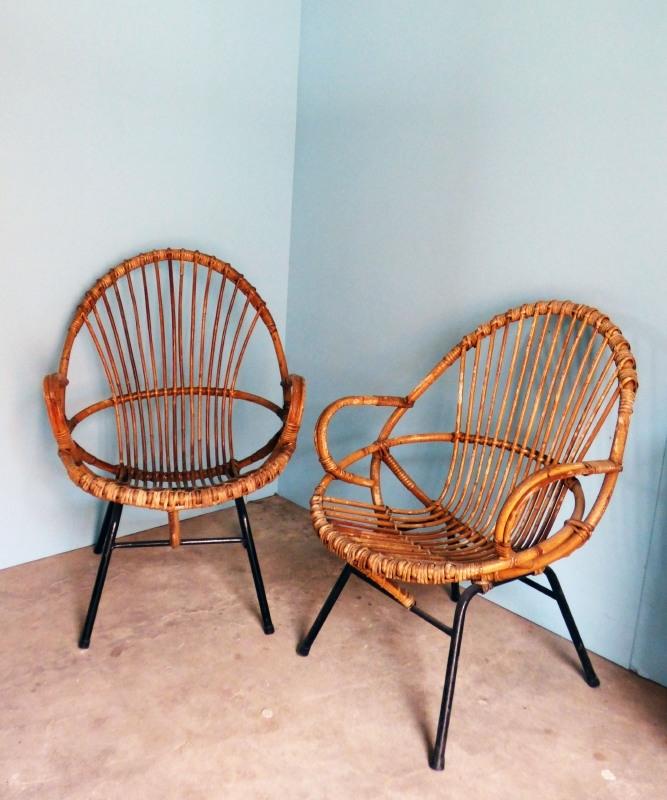 50's rotan stoelen *VERKOCHT*