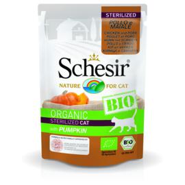 Schesir BIO Organic cat Sterilized  kip varken pompoen pouches