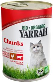 Yarrah blikvoeding voor de kat - brokjes kip en rund