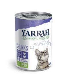 Yarrah blikvoeding voor de kat - brokjes kip en kalkoen