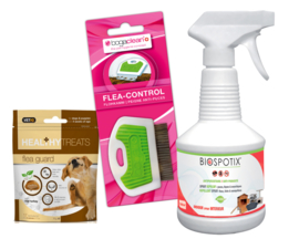Combinatie deal vlooien - Flea Guard snoepjes, vlooienkam en omgevingsspray