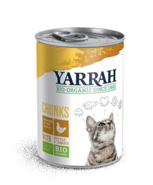 Yarrah blikvoeding voor de kat - brokjes kip
