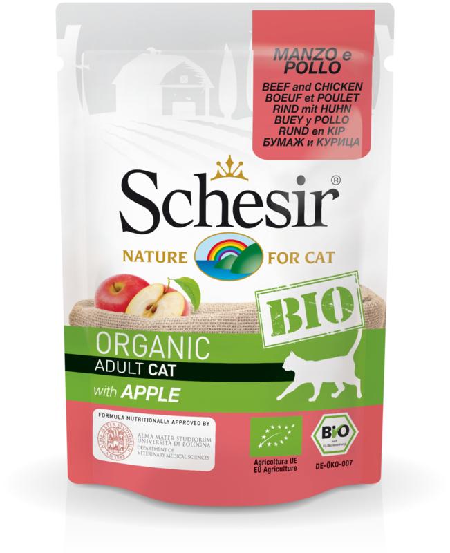 Schesir BIO Organic Cat - Rund en kip met appel