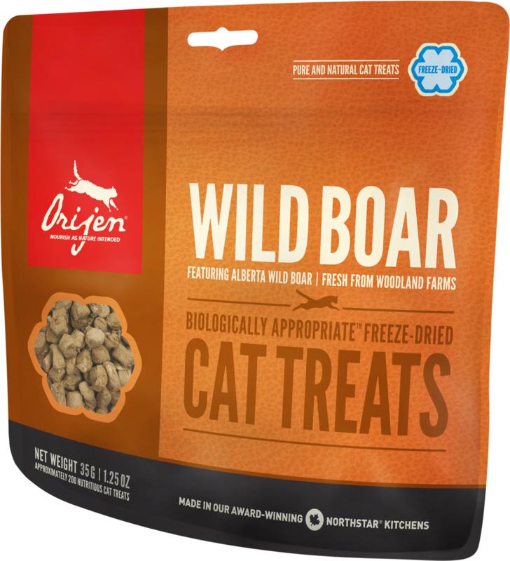Orijen gevriesdroogde kattensnoepjes Wild Zwijn