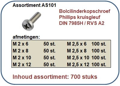 Assortiment bolcilinderkopschroef kruisgleuf RVS 700 stuks