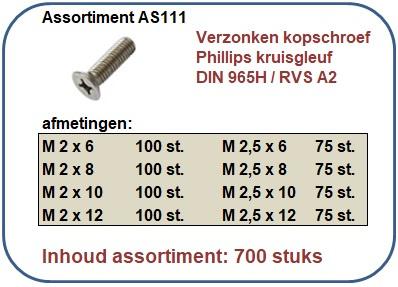Assortiment verzonkenkopschroef kruisgleuf RVS 700 stuks