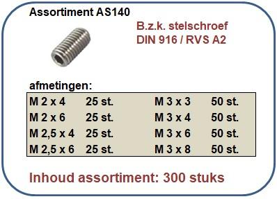Assortiment bzk stelschroef RVS A2 300 stuks