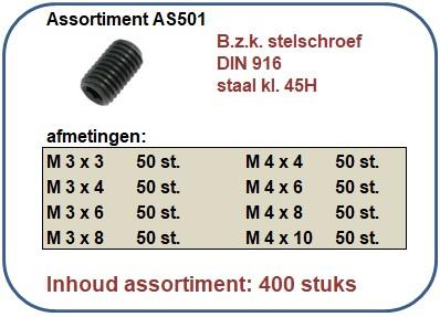 Assortiment bzk stelschroef staal kl. 45H 400 stuks