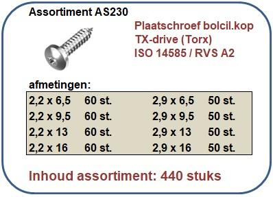 Assortiment plaatschroeven bolcilinderkop TORX RVS A2 440 stuks