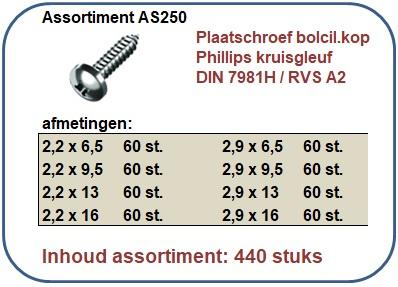Assortiment plaatschroeven bolcilinderkop RVS A2 440 stuks