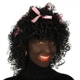 Piet pruik meisje lange krul met roze strikjes wetlook (DKW 011-17)