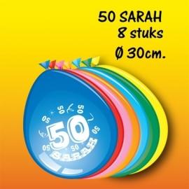 "Ballonnen 8 stuks ""Sarah 50"" (DKW 029-005)"