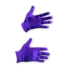 Handschoenen Sinterklaas paars kort 20 cm Satijn (009-012)