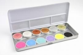 Aqua Schminkpalet 6 pastel & 6 edelmetaal kleuren (Modelnummer: DKW 003-636)