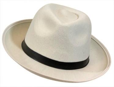 Gangsterhoed / bluesbrothers hoed wit vilt (DKW 014-162)