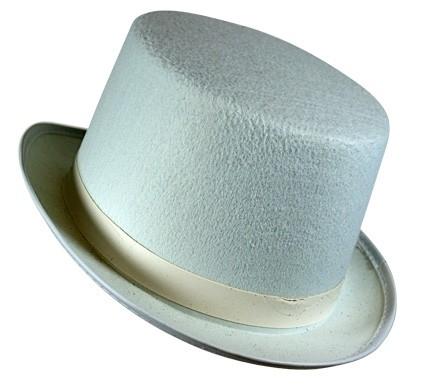 Hoge hoed wit, vilt (DKW 014-157)