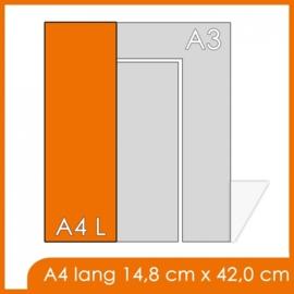 1000 X A4 Lang 14.8x42cm offset enkelzijdig full colour 135gr. glans