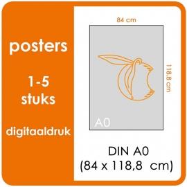A0 Posters - prijsgroep voor 1 t/m 5 stuks.   Print Formaat: 840mm x 1189mm.  Posterpapier: PrimeArt Semi-Gloss 200 gm²  (Prijs Per stuk)