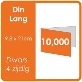 Folders (met vouw) DIN lang 9,8 x 21 cm Dwars 4-zijdig 4/4 dubbelzijdig full colour Aantal: 10.000 stuks