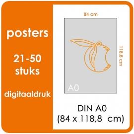 A0 Posters - prijsgroep voor 21 t/m 50 stuks. Print Formaat: 840mm x 1189mm. Posterpapier: PrimeArt Semi-Gloss 200 gm² (Prijs Per stuk)