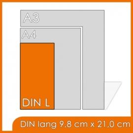 50000 X Din Lang 9.8x21cm offset dubbelzijdig full colour 170gr. glans